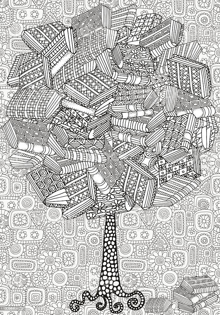 Artistic tree with books. vector art illustration