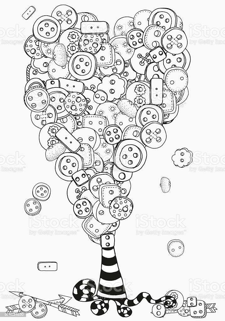 Artistic tree with clothes buttons. Pattern for coloring book. vector art illustration