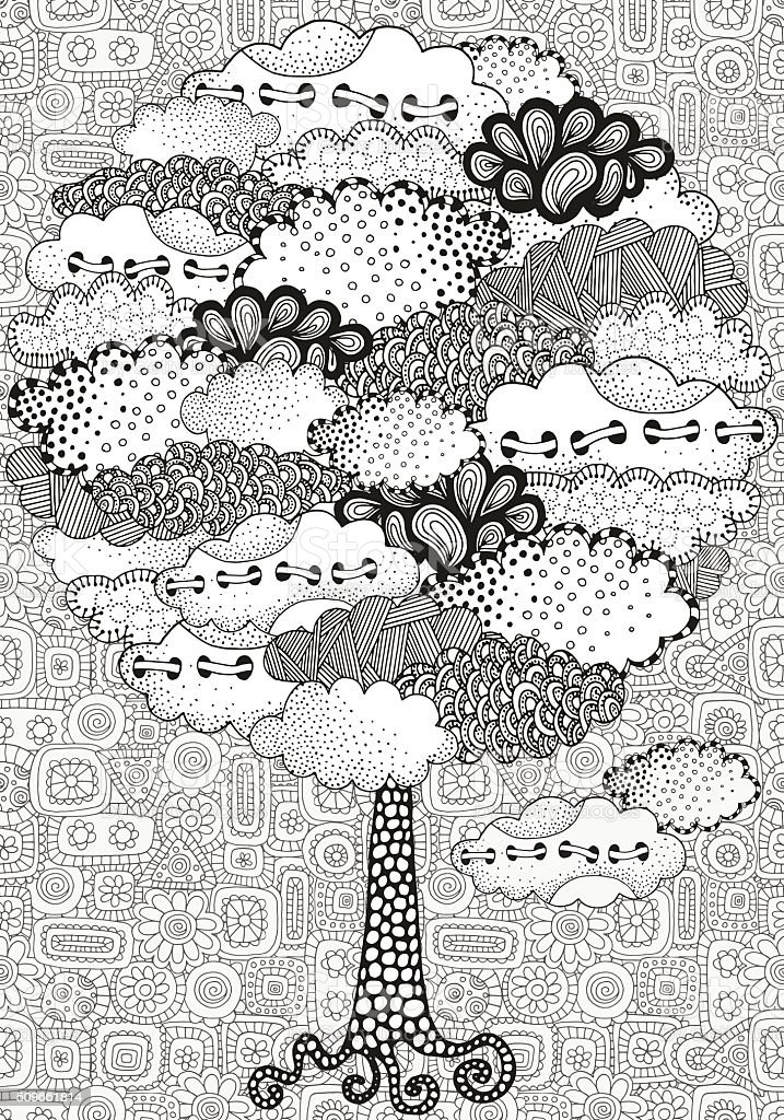 Artistic tree with clouds. vector art illustration