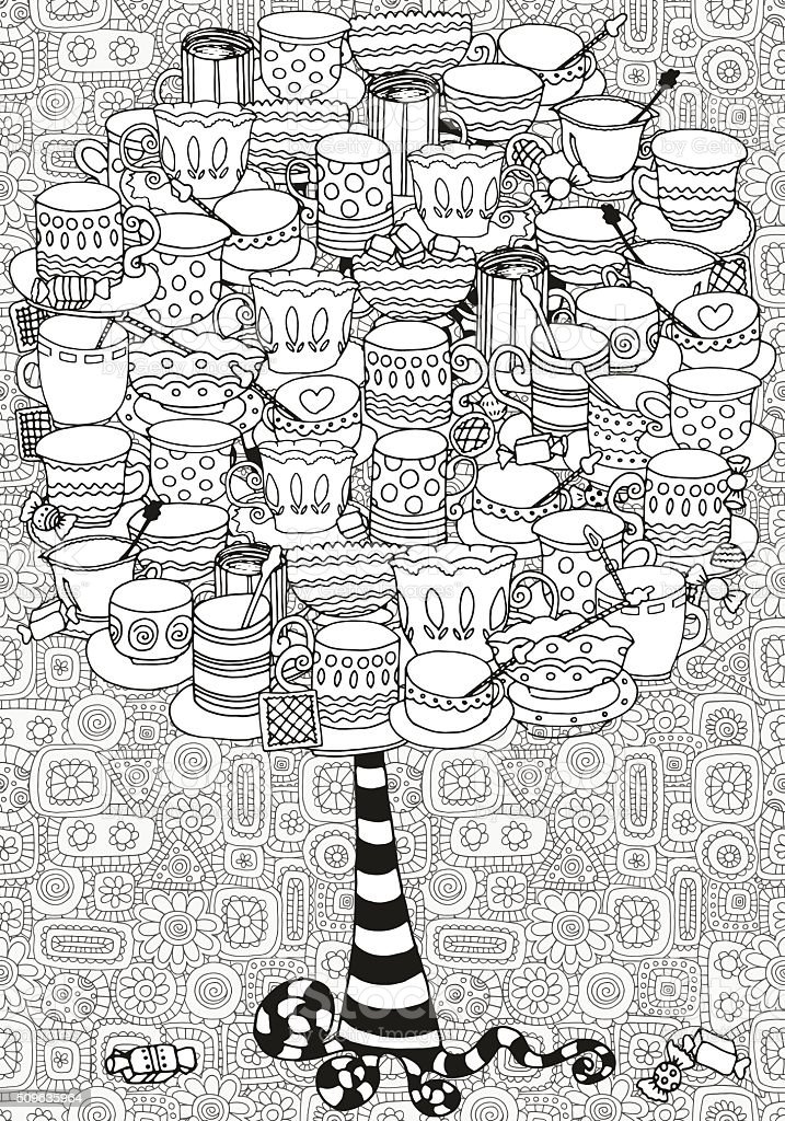 Artistic tree with cups and mugs. vector art illustration