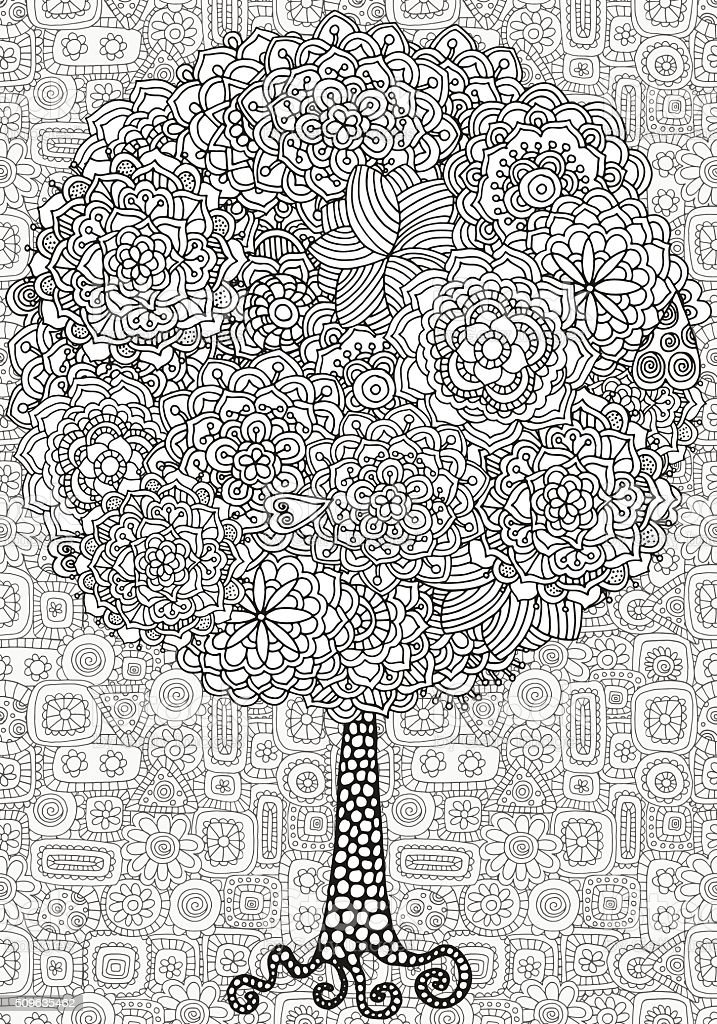 Artistic tree with floral ornaments vector art illustration