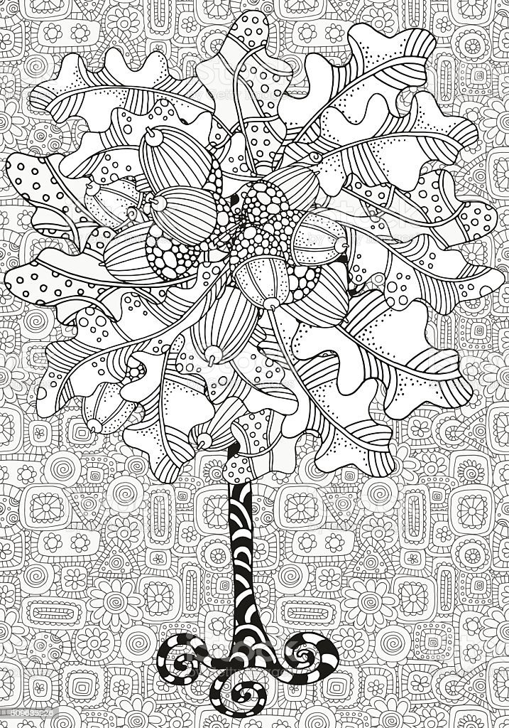 Artistic tree with hand drawn acorns and oak leaves. vector art illustration