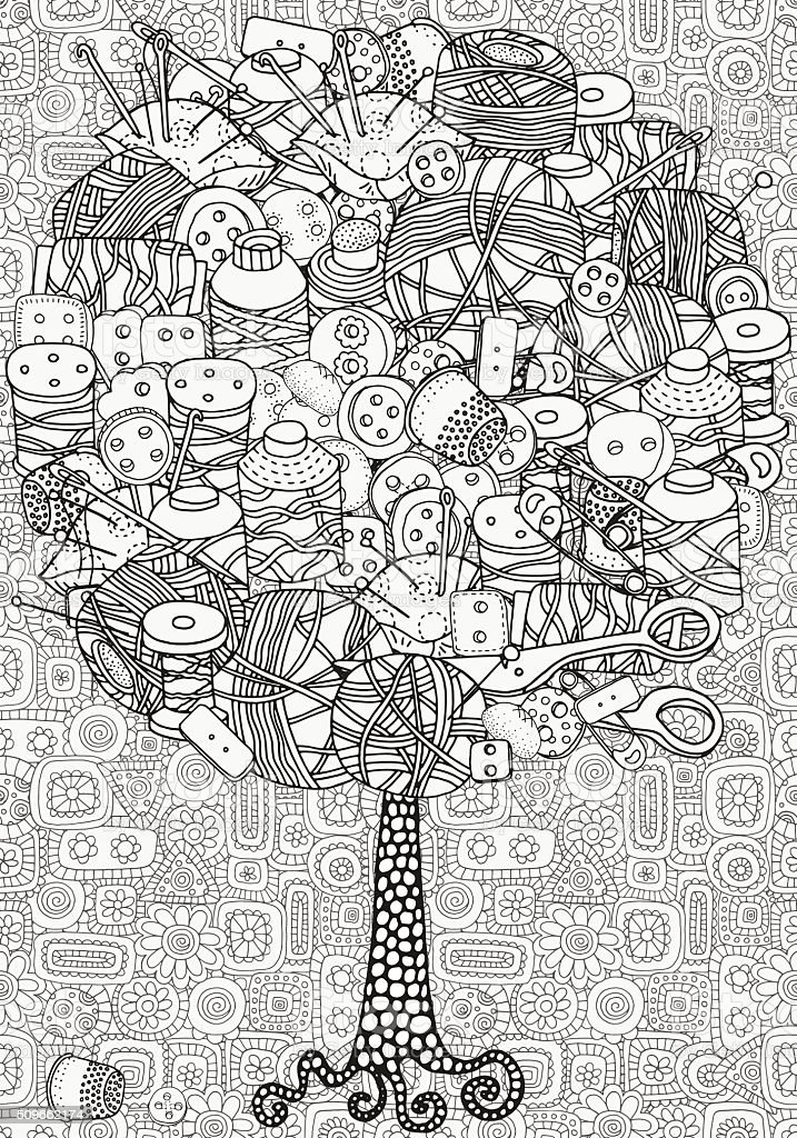 Artistic tree with hand drawn clothes buttons, needles, thread, pins vector art illustration