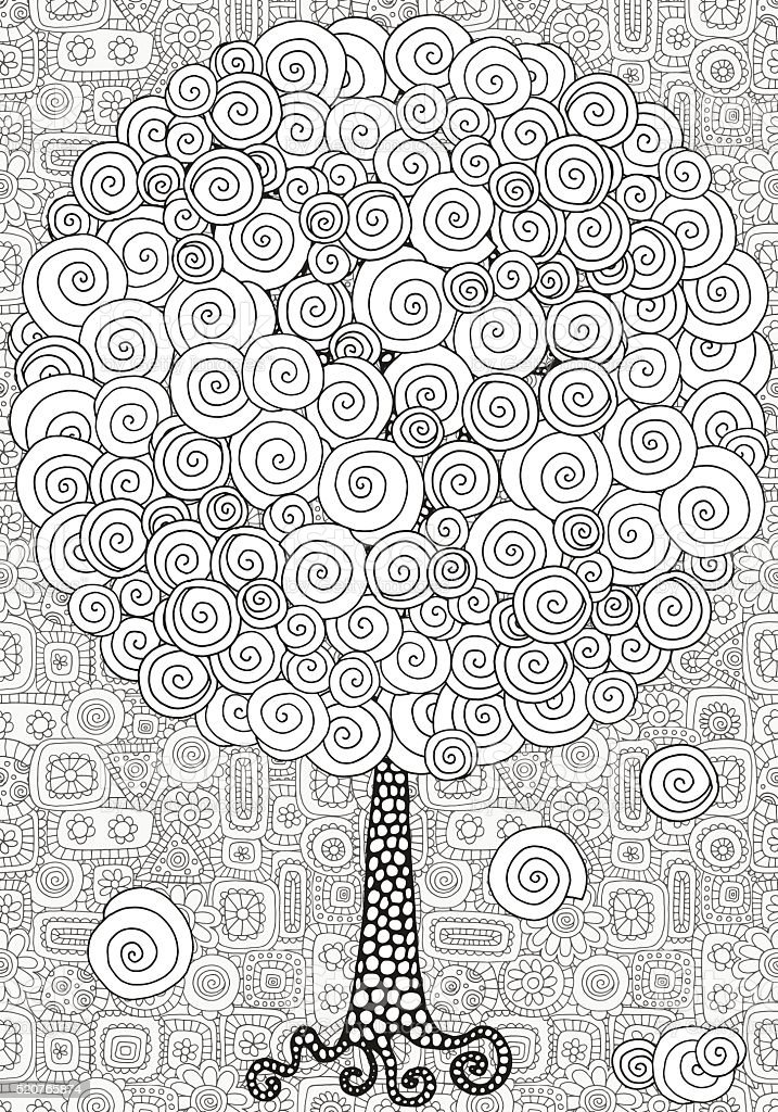 Artistic tree with hand-drawn swirls, ringlets. vector art illustration