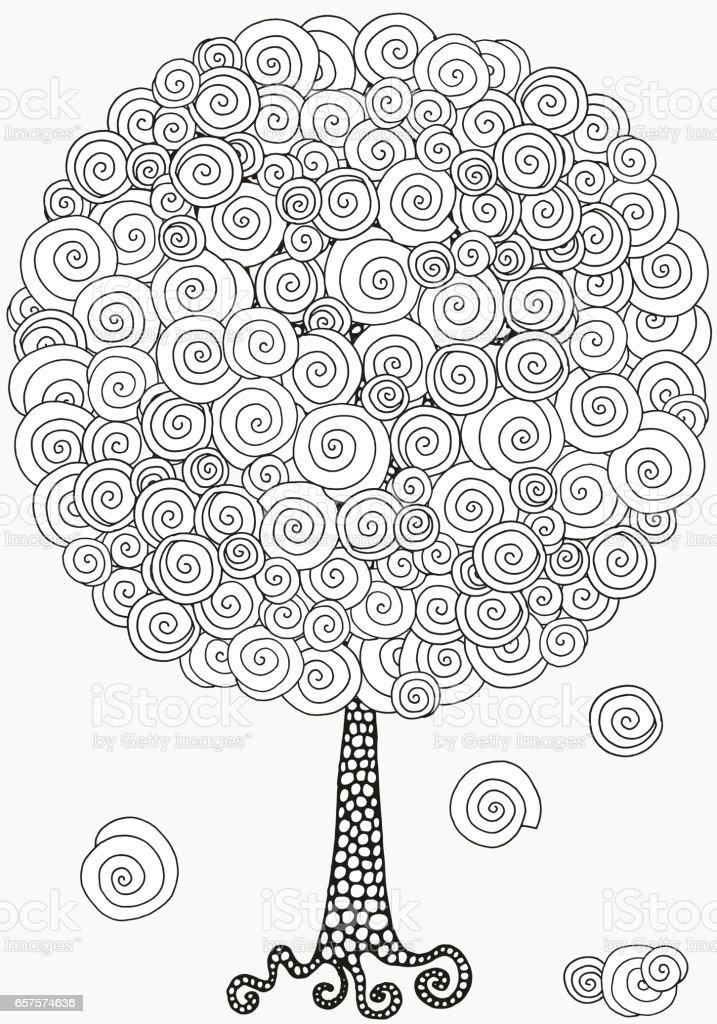 Artistic tree with hand-drawn swirls, ringlets. vector art illustration