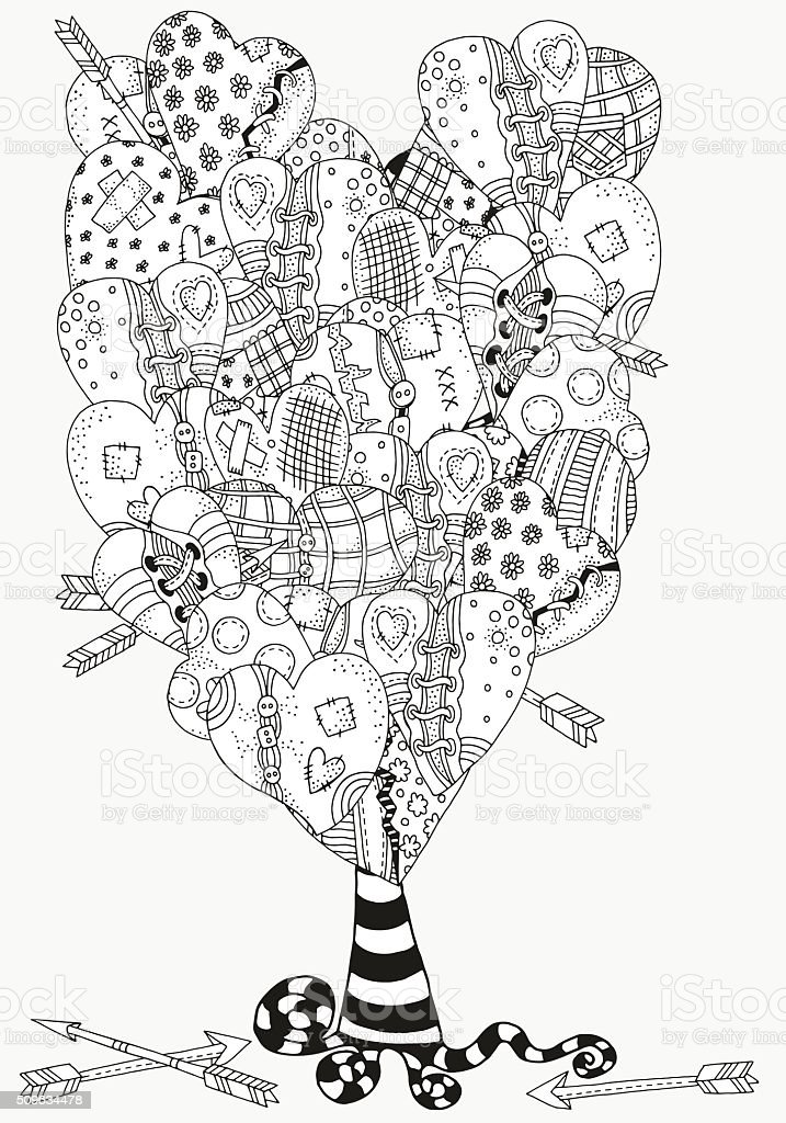 Artistic tree with heart-shaped pattern for coloring book. vector art illustration