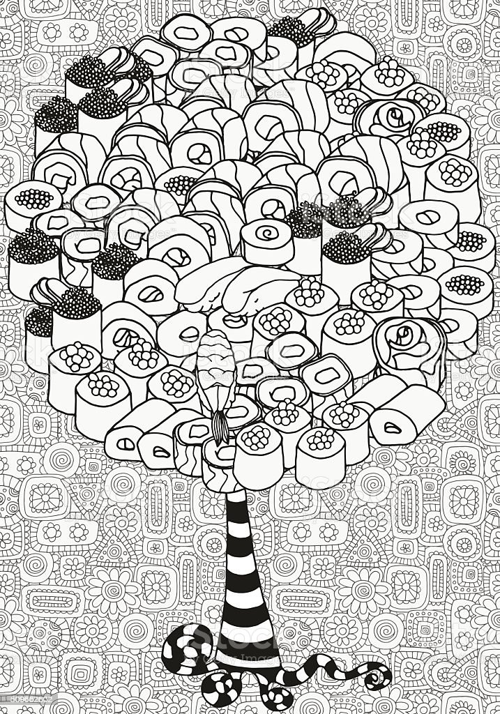 Artistic tree with Japanese set  sushi and rolls. vector art illustration