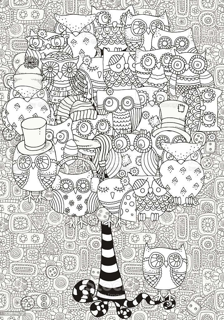Artistic tree with owls. Pattern for coloring book. vector art illustration