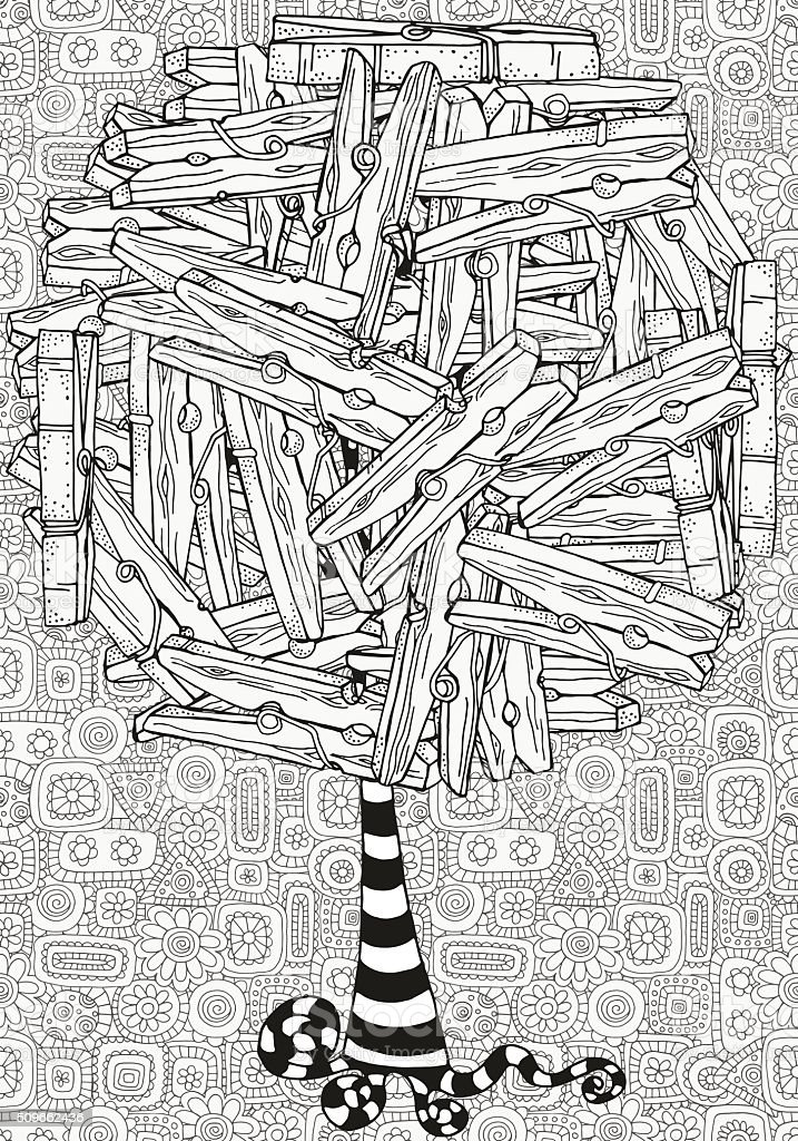 Artistic tree with wooden clothespins vector art illustration