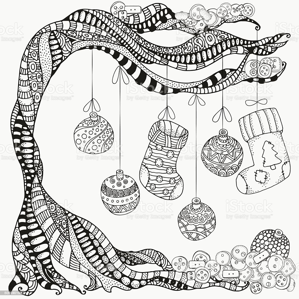 Artistic tree, xmas balls and christmas socks. Zentangle vector art illustration