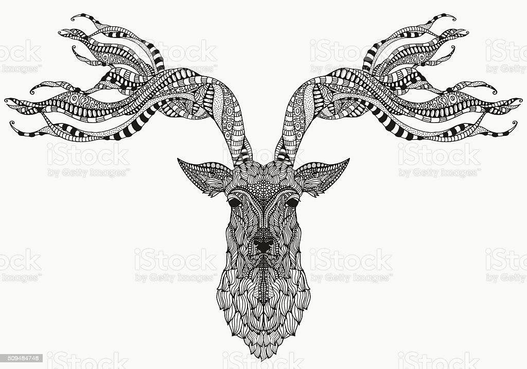 Artistically deer head. Zentangle patterns. vector art illustration
