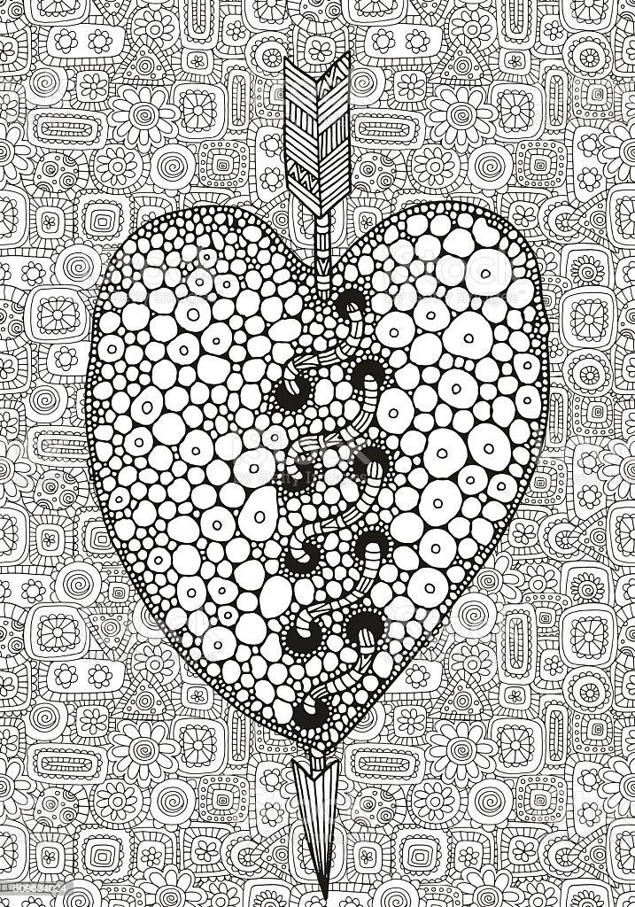 Artistically hand drawn heart  in vector. vector art illustration