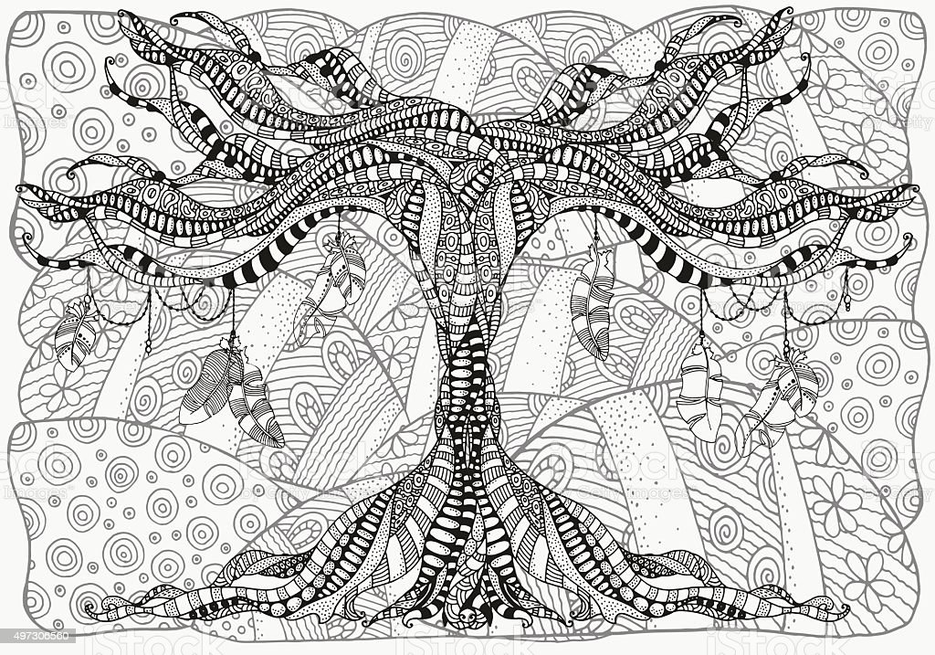 Artistically tree and feathers. Zentangle patterns. vector art illustration