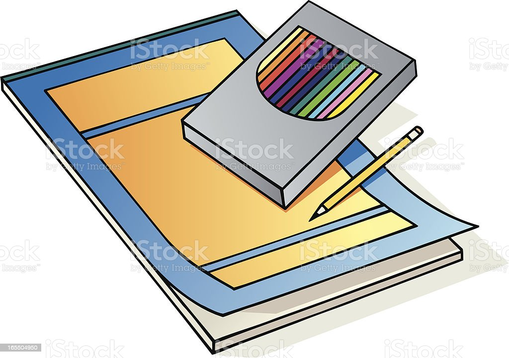 Artist's Colored Pencils & Paper royalty-free stock vector art