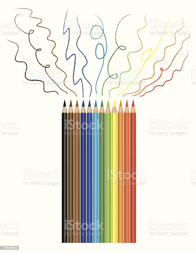 Artist's coloring pencils with sample scribbles (vector & jpeg) royalty-free stock vector art