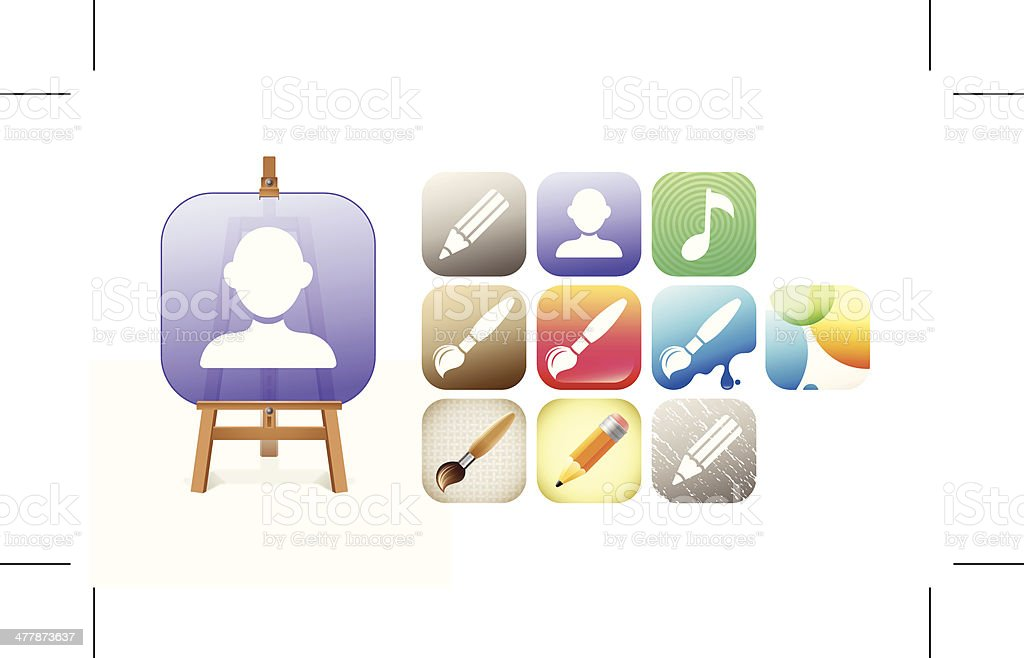 Artist's Icons royalty-free stock vector art