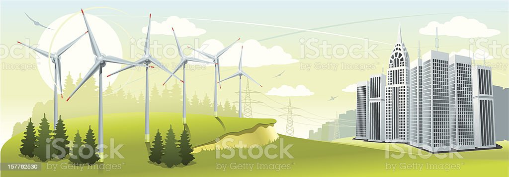 Artist's impression of a wind turbine park royalty-free stock vector art