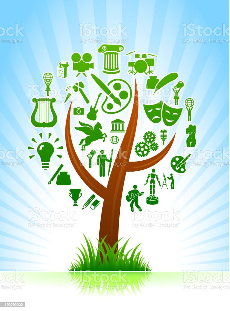 Arts and Music Tree on blue royalty free vector Background royalty-free stock vector art
