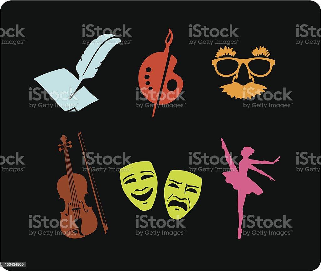 Arts & Entertainment Icons vector art illustration