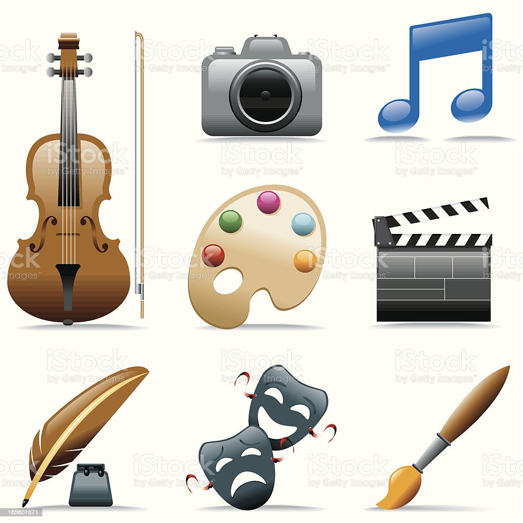 Arts icon set royalty-free stock vector art