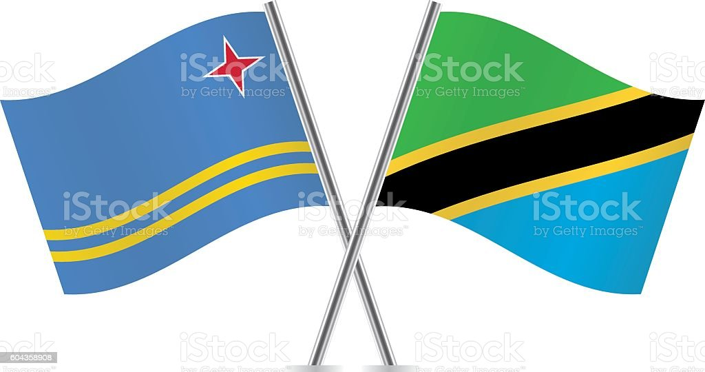 Aruba and Tanzania flags. Vector. vector art illustration