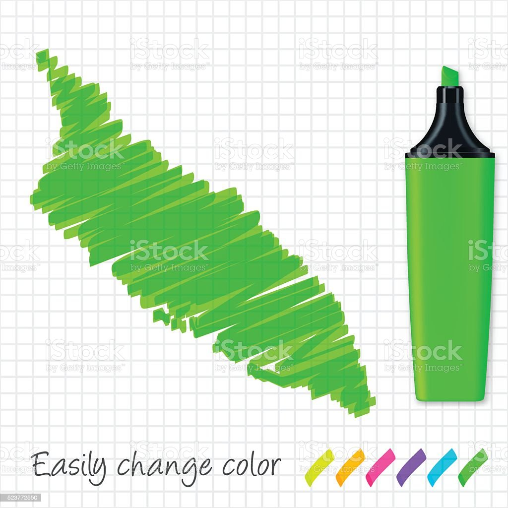 Aruba map hand drawn on grid paper, green highlighter vector art illustration
