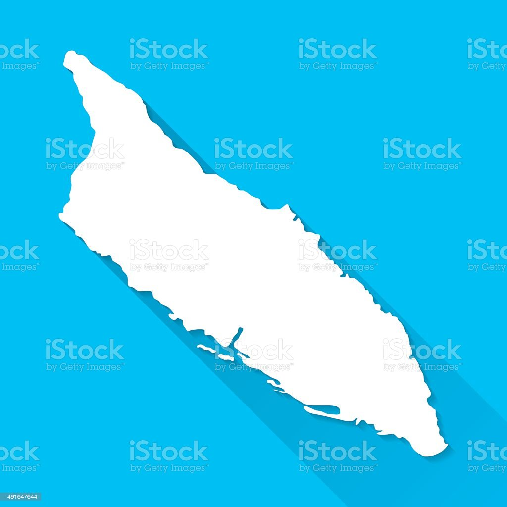 Aruba Map on Blue Background, Long Shadow, Flat Design vector art illustration