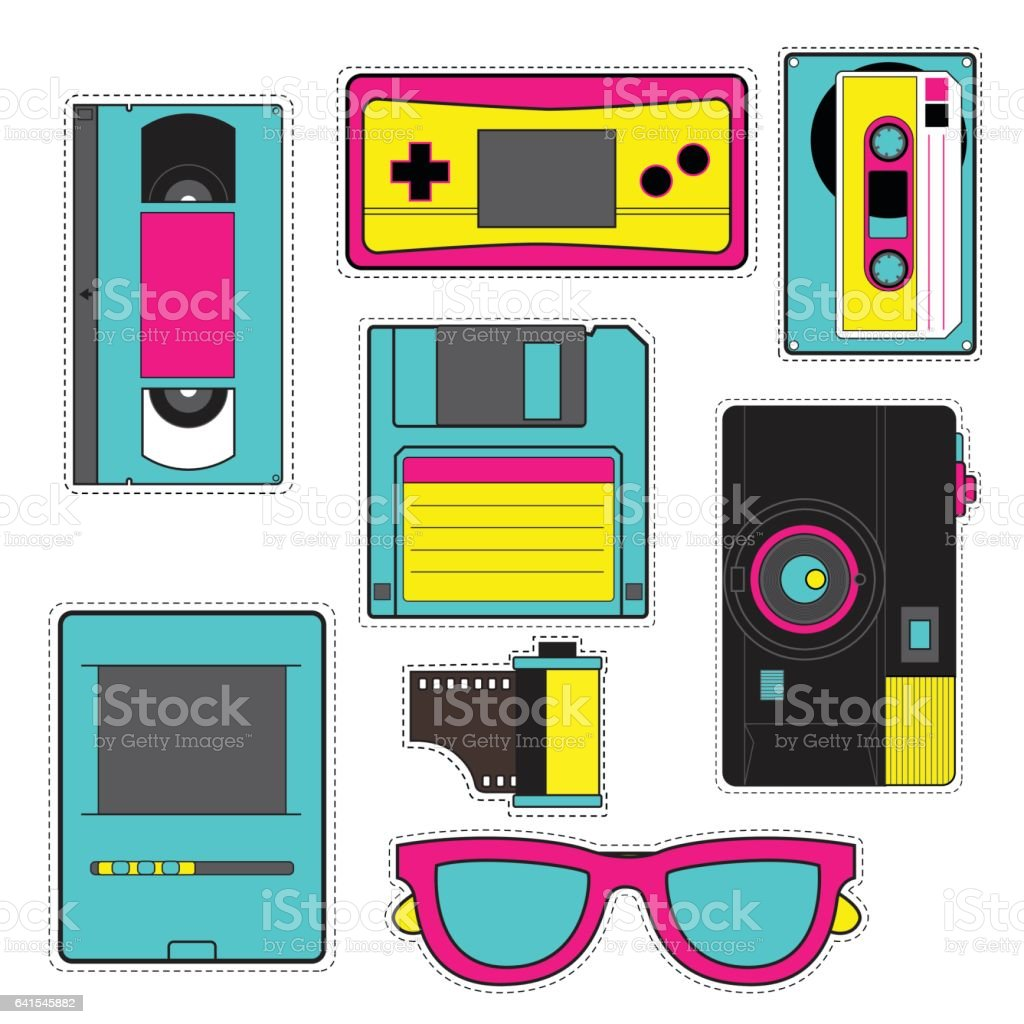 ashion patch badges with game, photo camera, floppy disk, cassette tape, computer etc. illustration isolated on white background. Set of stickers, pins, patches in cartoon 80s-90s pop-art comic style. vector art illustration