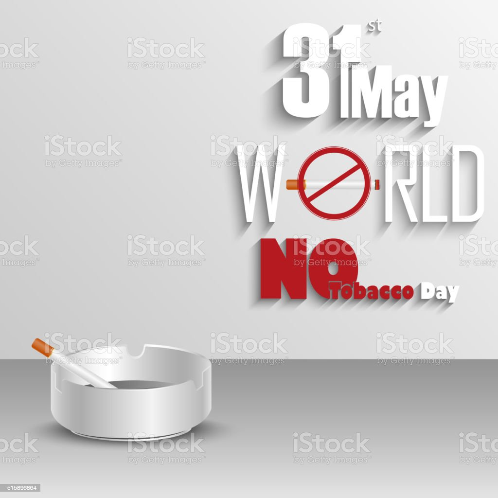 Ashtray with cigarettes for world No tobacco day vector art illustration