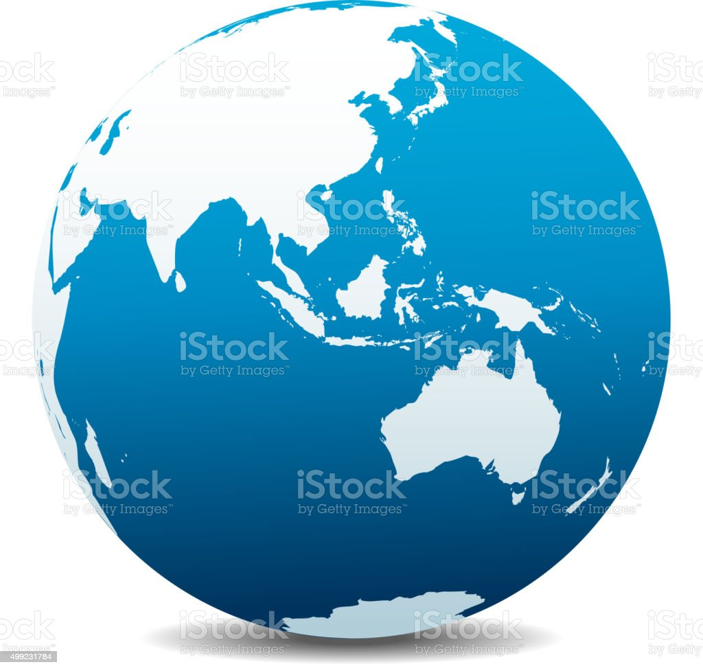 Asia and Australia, Global World vector art illustration
