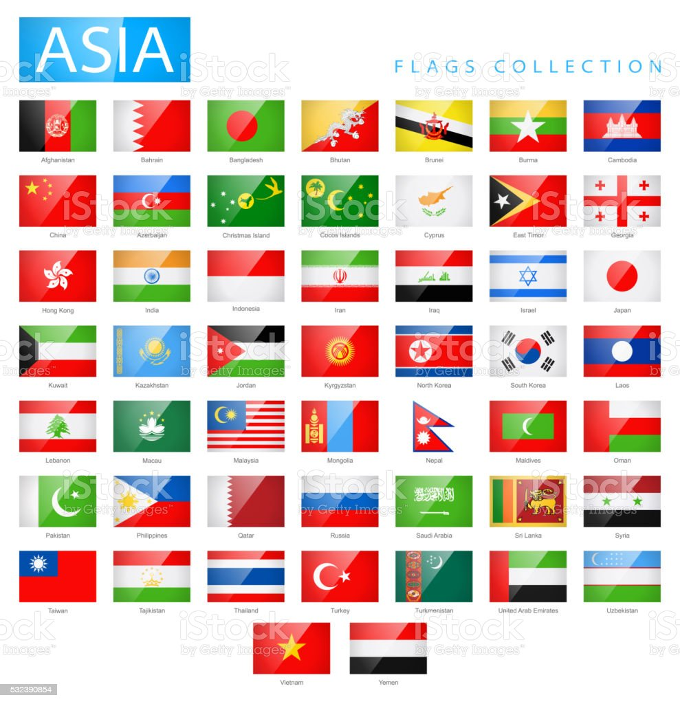 Asia - Flat Glossy Rectangle Flag Icons - Illustration vector art illustration