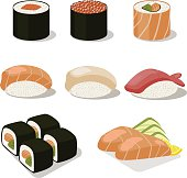 Asia food icon set with sushi rolls sashimi.Flat illustration