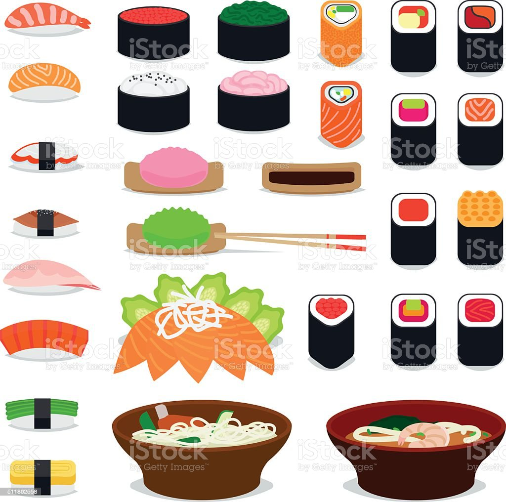 Asia food icons vector art illustration