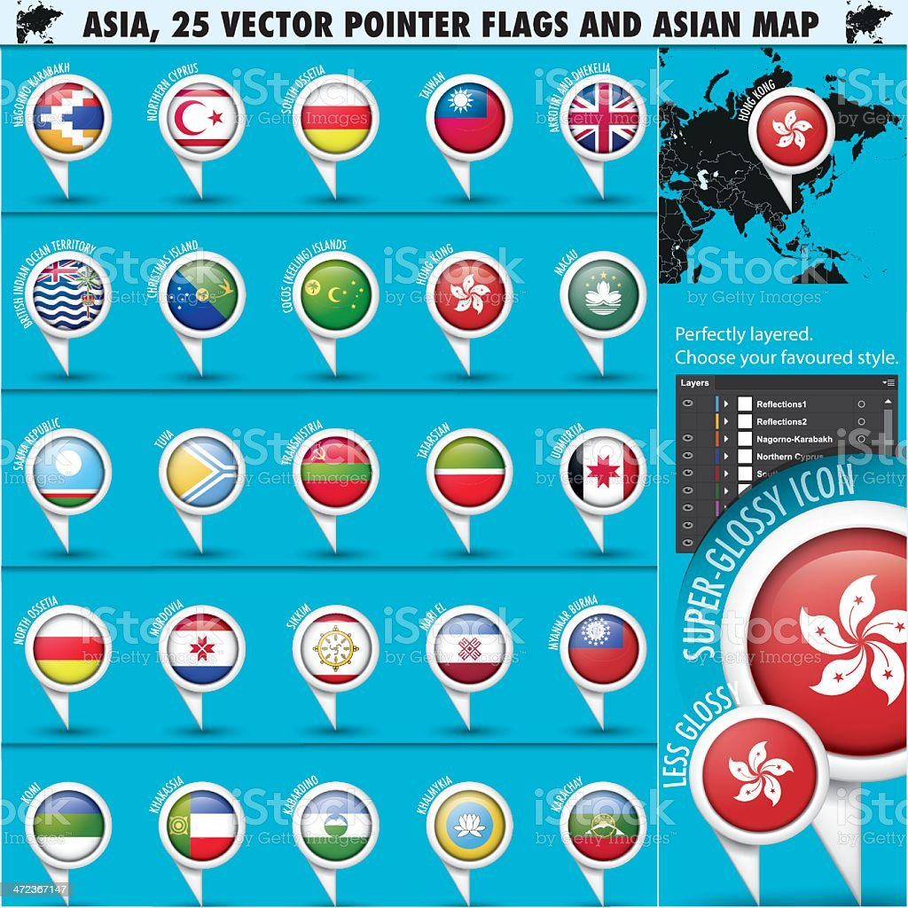 Asia Map and flags Pointer Icons set3 vector art illustration