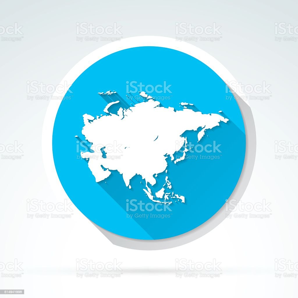 Asia map icon, Flat Design, Long Shadow vector art illustration