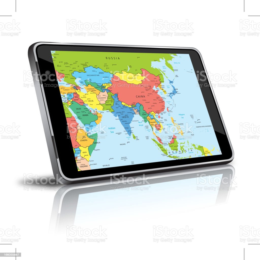 Asia map in a digital tablet royalty-free stock vector art