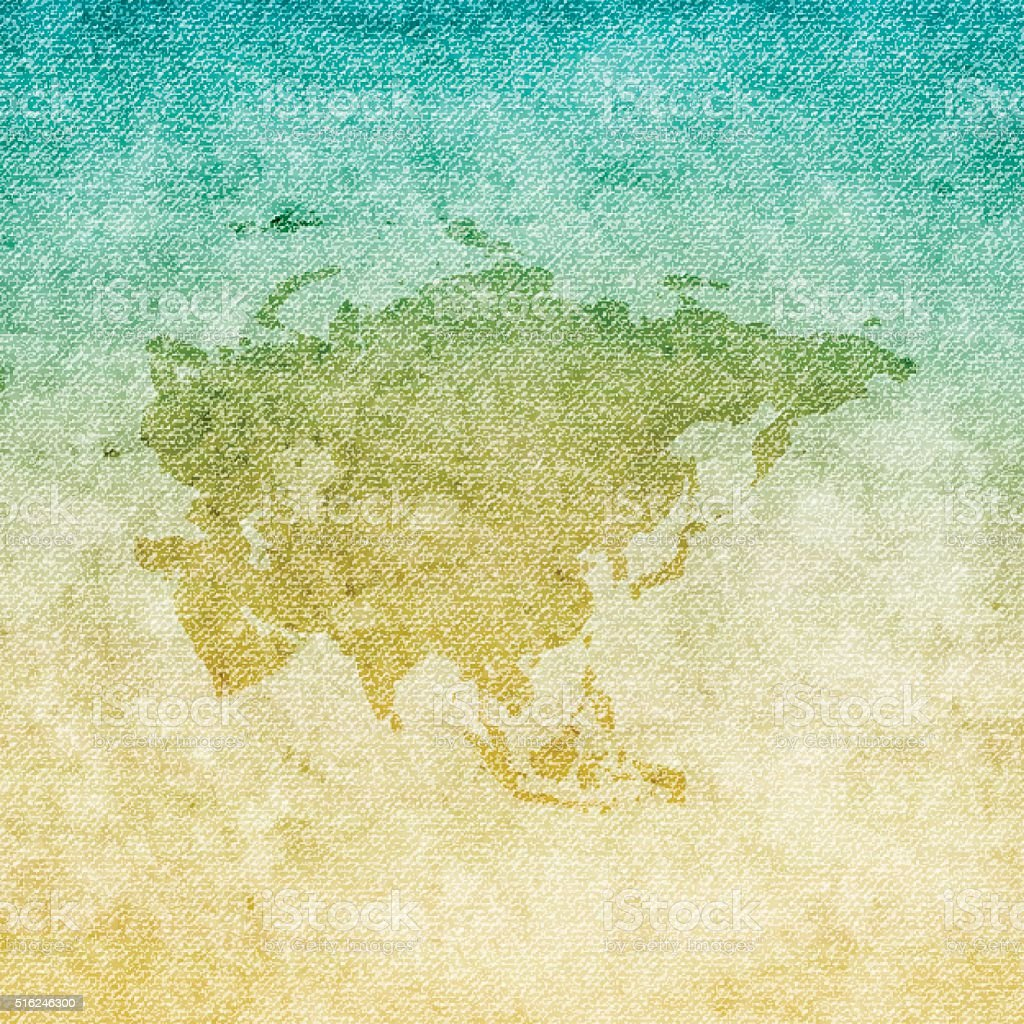 Asia Map on grunge Canvas Background vector art illustration
