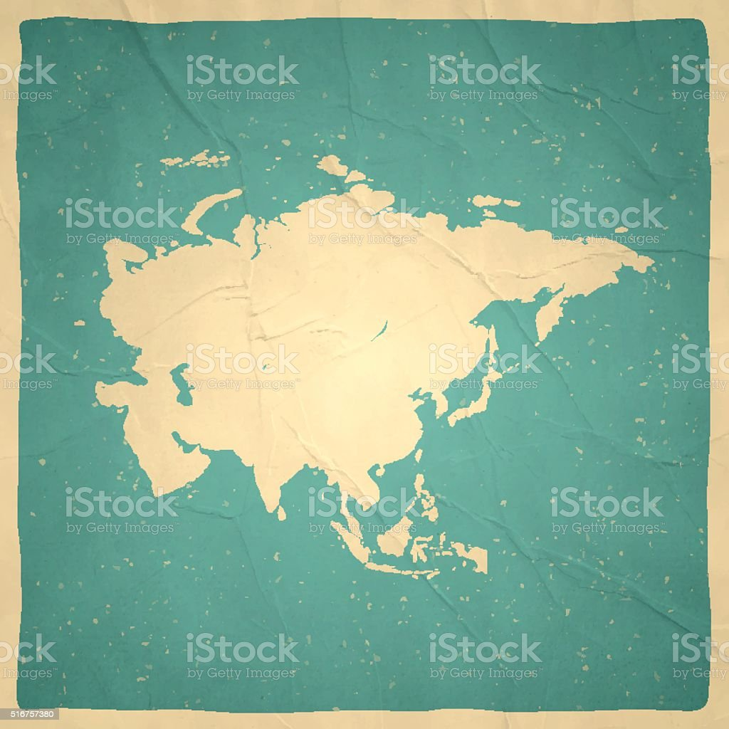 Asia Map on old paper - vintage texture vector art illustration