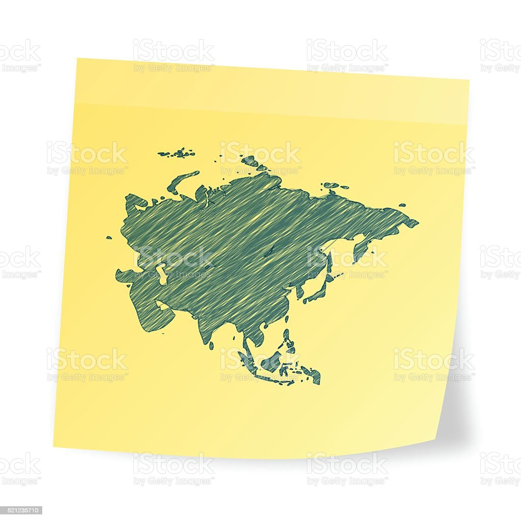 Asia map on sticky note with scribble effect vector art illustration