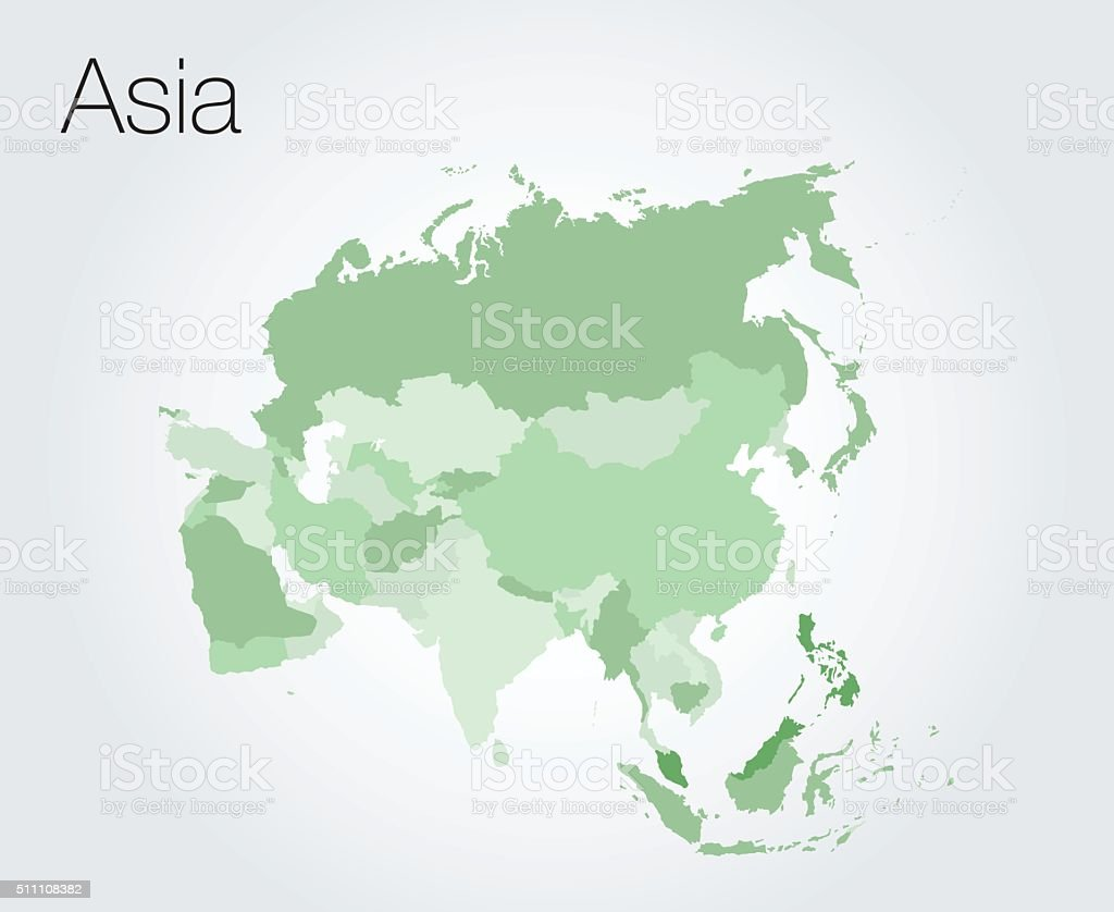 Asia map vector art illustration