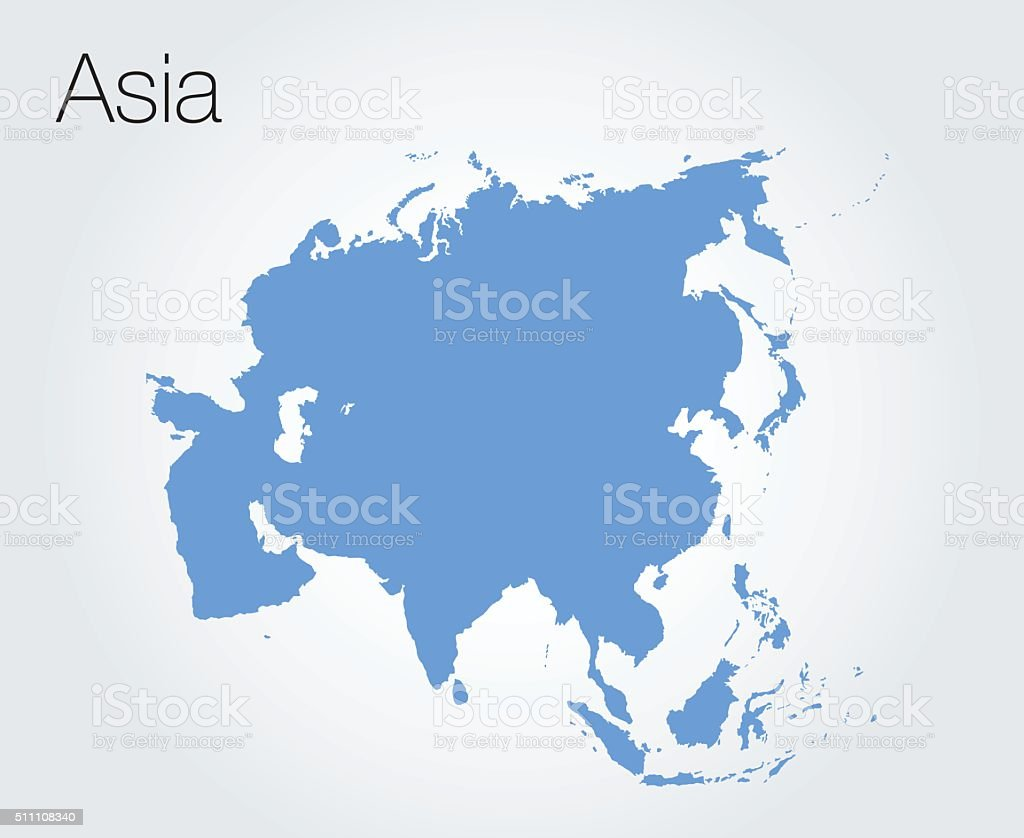 Asia map vector vector art illustration