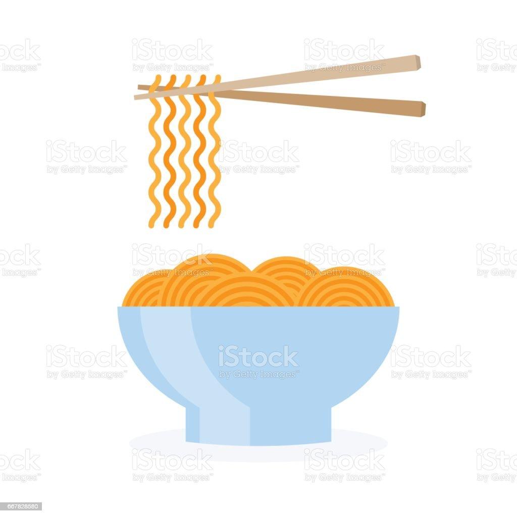 asia noodle bowl food vector art illustration