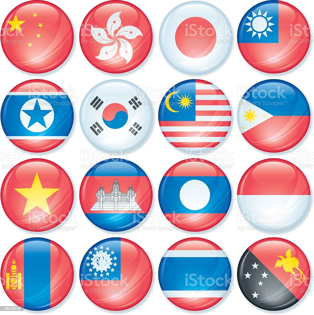 Asia Pacific Super Gloss Flags royalty-free stock vector art