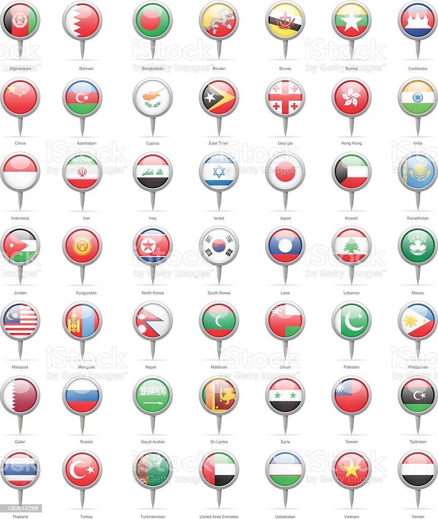 Asia - Round Flag Pins - Illustration vector art illustration