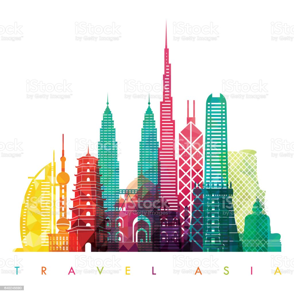 Asia skyline detailed silhouette. Vector illustration. Travel and tourism background vector art illustration