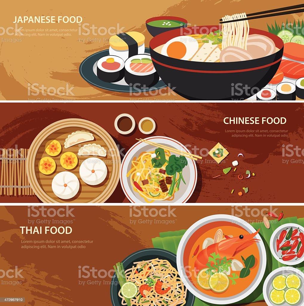 asia street food web banner , thai food , japanese food , chines vector art illustration