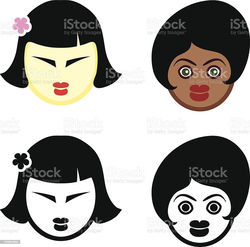 asian and african american females vector art illustration