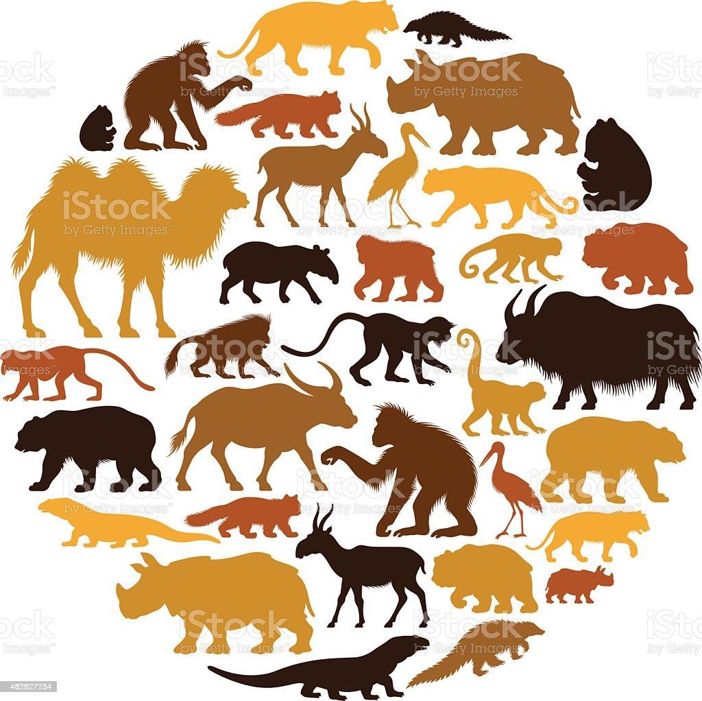Asian Animals Collage vector art illustration