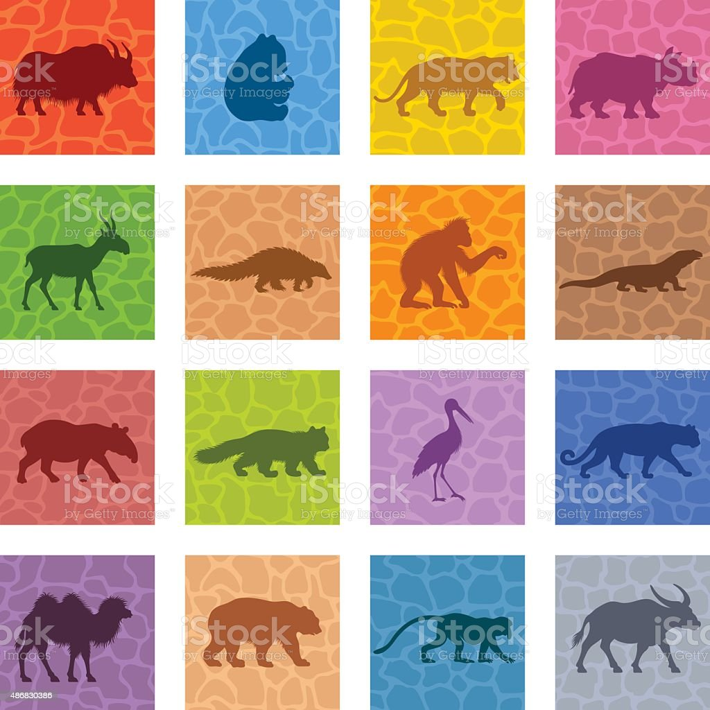 Asian Animals Icon Set vector art illustration