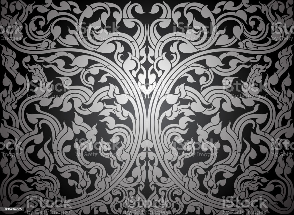 Asian art shaped silver color royalty-free stock vector art